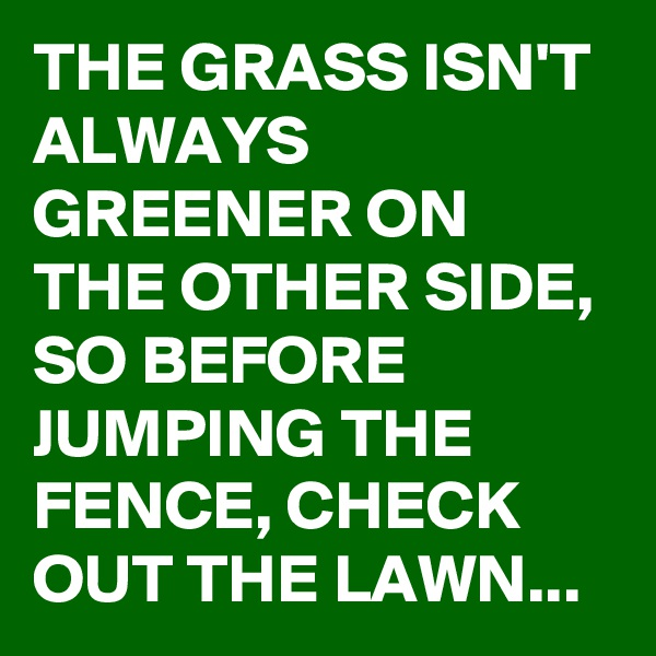 THE GRASS ISN'T ALWAYS GREENER ON THE OTHER SIDE,  SO BEFORE JUMPING THE FENCE, CHECK OUT THE LAWN...