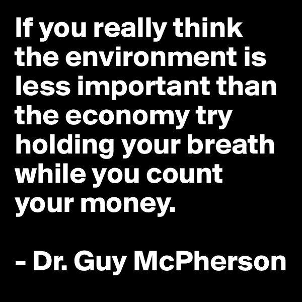 If you really think the environment is less important than the economy try holding your breath while you count your money.   - Dr. Guy McPherson