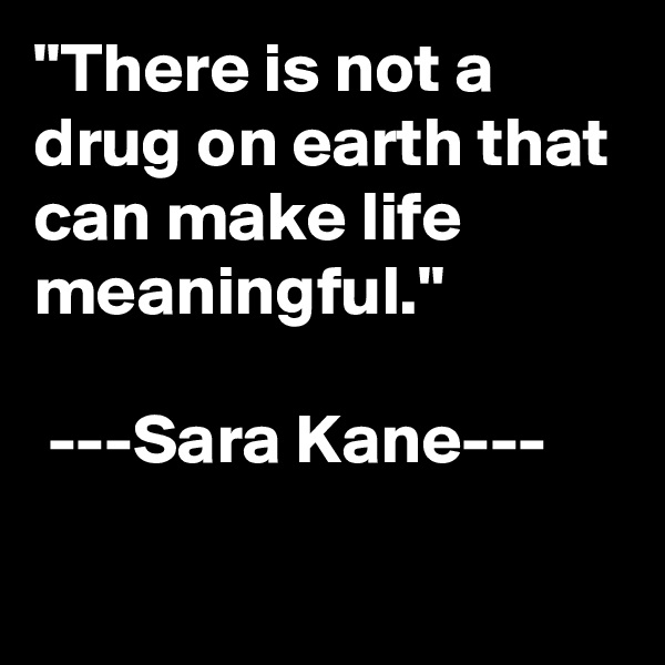 """There is not a drug on earth that can make life meaningful.""   ---Sara Kane---"