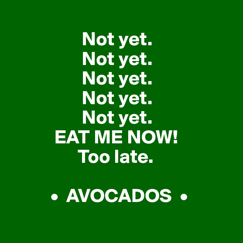 Not yet.                    Not yet.                    Not yet.                    Not yet.                    Not yet.             EAT ME NOW!                  Too late.             •  AVOCADOS  •