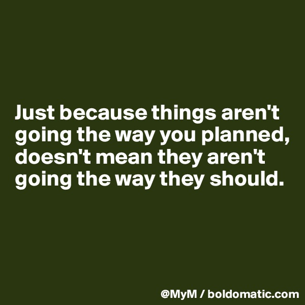 Just because things aren't going the way you planned, doesn't mean they aren't going the way they should.