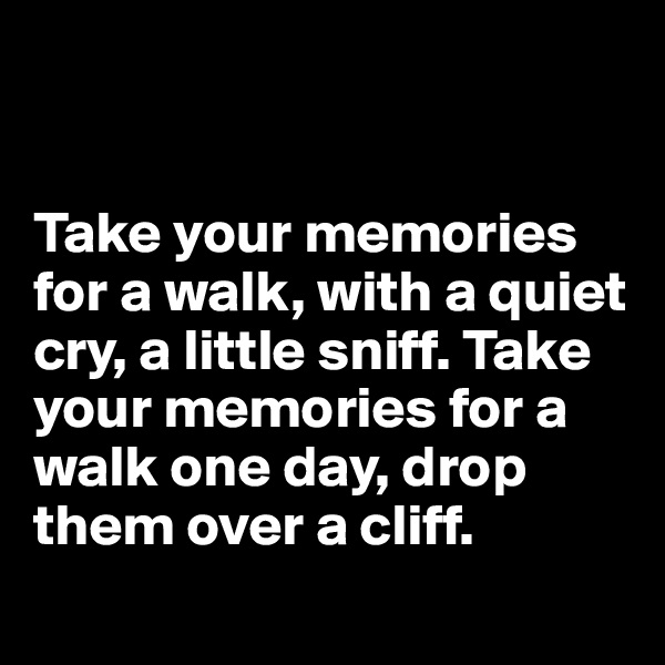 Take your memories  for a walk, with a quiet cry, a little sniff. Take your memories for a walk one day, drop them over a cliff.