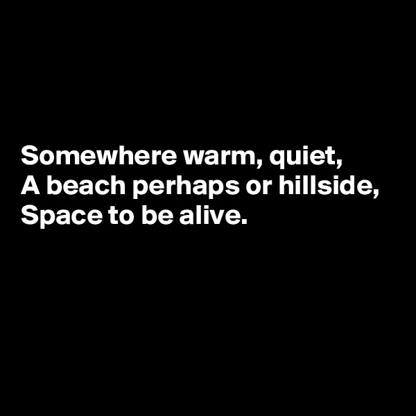 Somewhere warm, quiet,  A beach perhaps or hillside,  Space to be alive.
