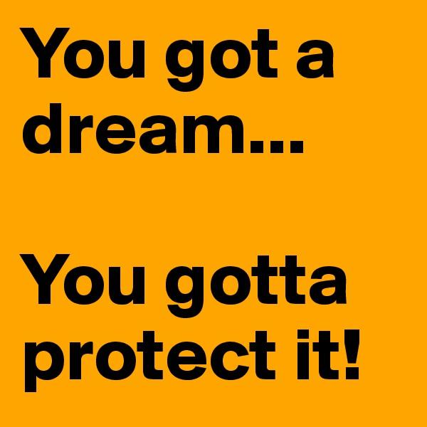 You got a dream...    You gotta protect it!