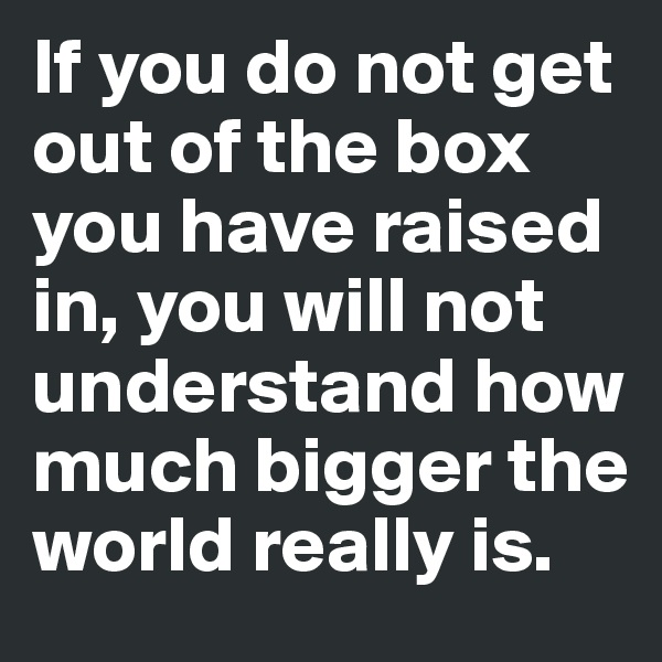 If you do not get out of the box you have raised in, you will not understand how much bigger the world really is.