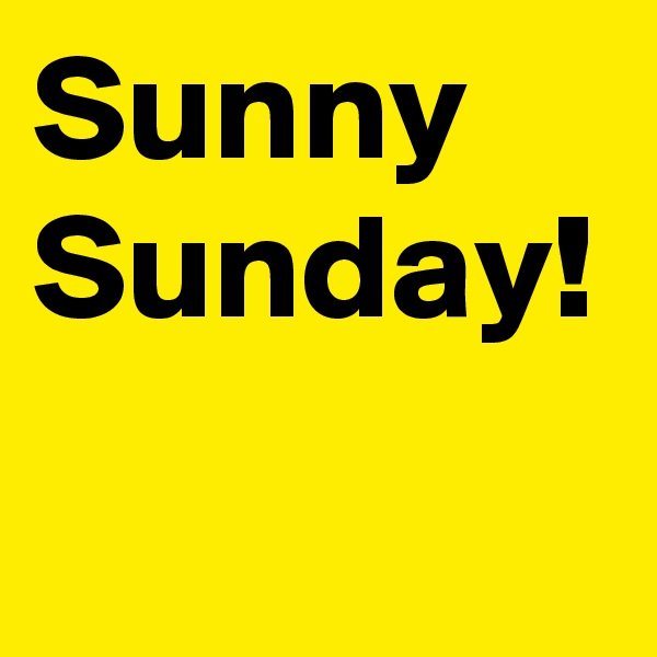 Sunny Sunday!