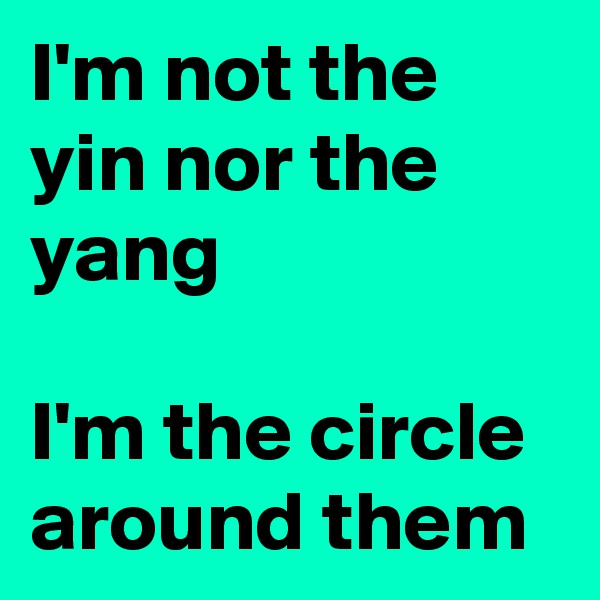I'm not the yin nor the yang  I'm the circle around them