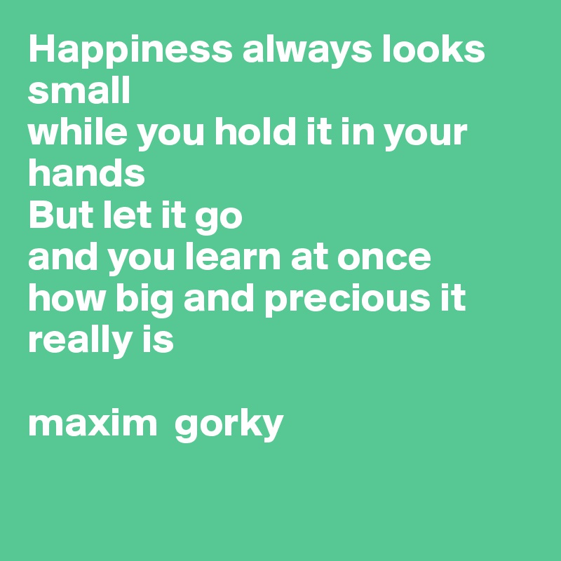 Happiness always looks small  while you hold it in your hands But let it go  and you learn at once   how big and precious it really is  maxim  gorky