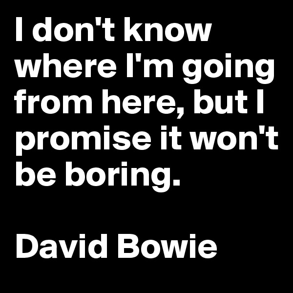 I don't know where I'm going from here, but I promise it won't be boring.  David Bowie
