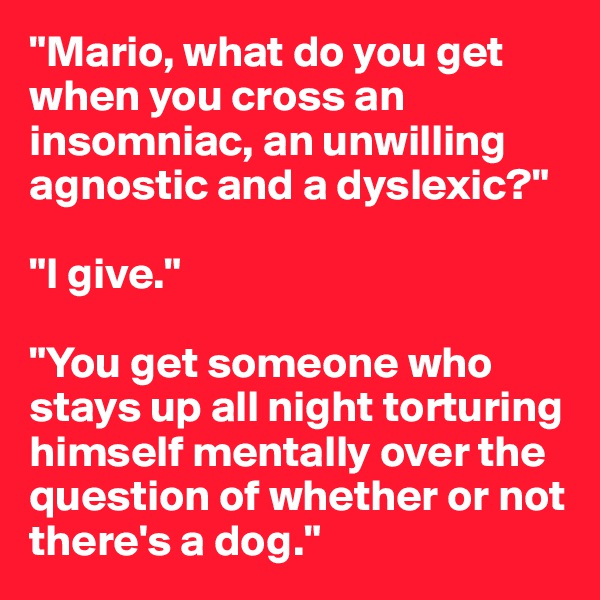 """""""Mario, what do you get when you cross an insomniac, an unwilling agnostic and a dyslexic?""""  """"I give.""""  """"You get someone who stays up all night torturing himself mentally over the question of whether or not there's a dog."""""""