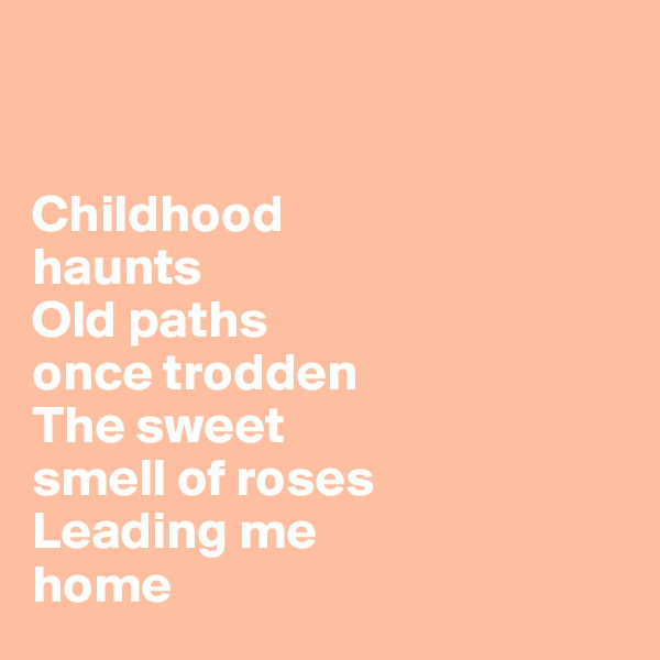 Childhood haunts Old paths  once trodden The sweet smell of roses Leading me  home
