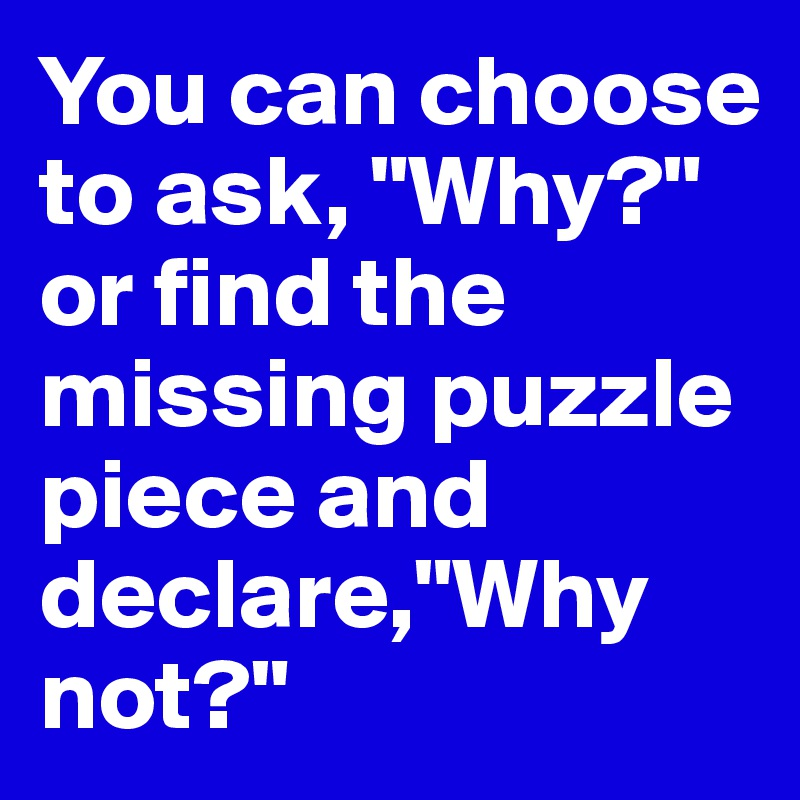"You can choose to ask, ""Why?"" or find the missing puzzle piece and declare,""Why not?"""