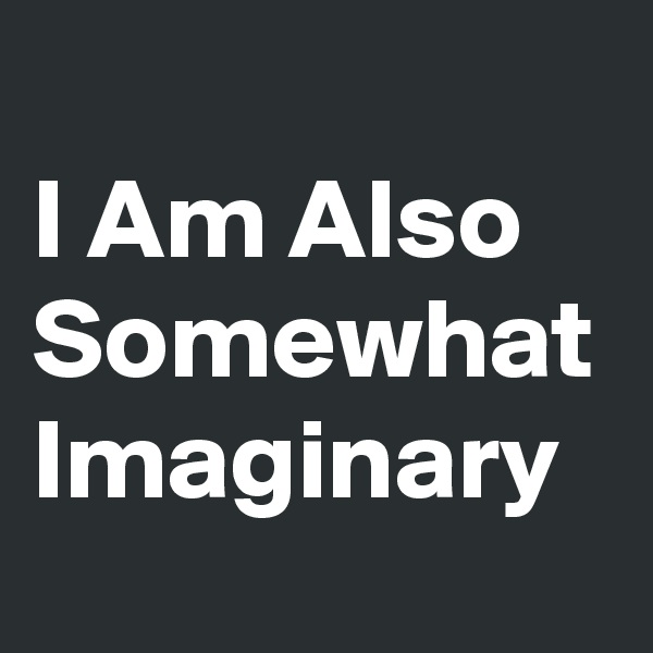 I Am Also Somewhat Imaginary
