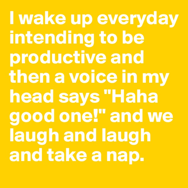 "I wake up everyday intending to be productive and then a voice in my head says ""Haha good one!"" and we laugh and laugh and take a nap."