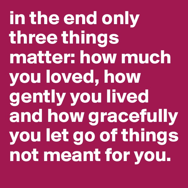 in the end only three things matter: how much you loved, how gently you lived and how gracefully you let go of things not meant for you.