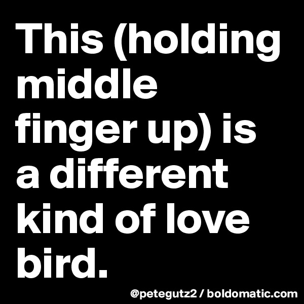 This (holding middle finger up) is a different kind of love bird.