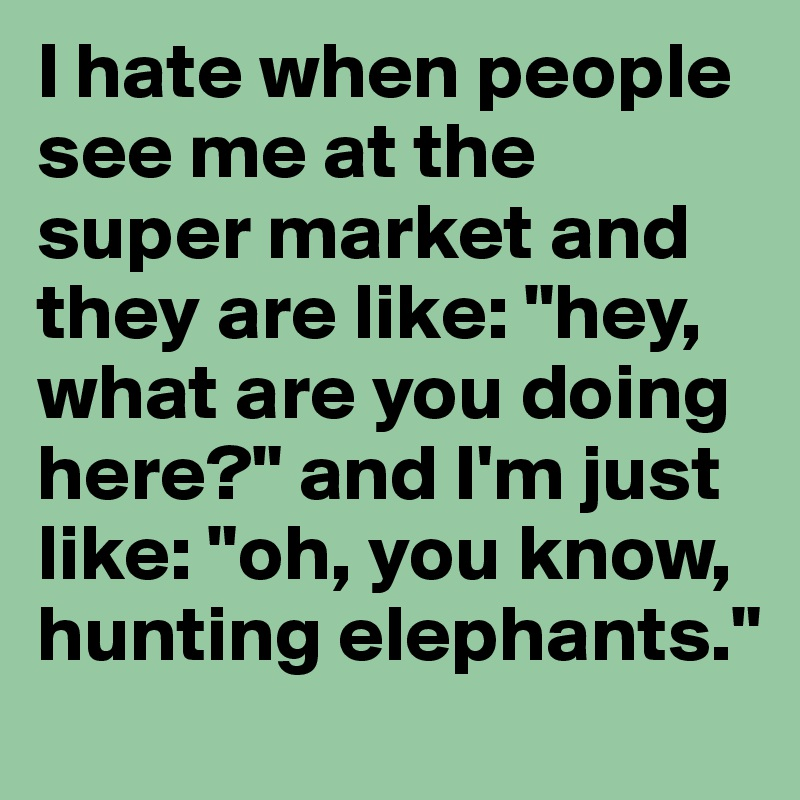 """I hate when people see me at the super market and they are like: """"hey, what are you doing here?"""" and I'm just like: """"oh, you know, hunting elephants."""""""
