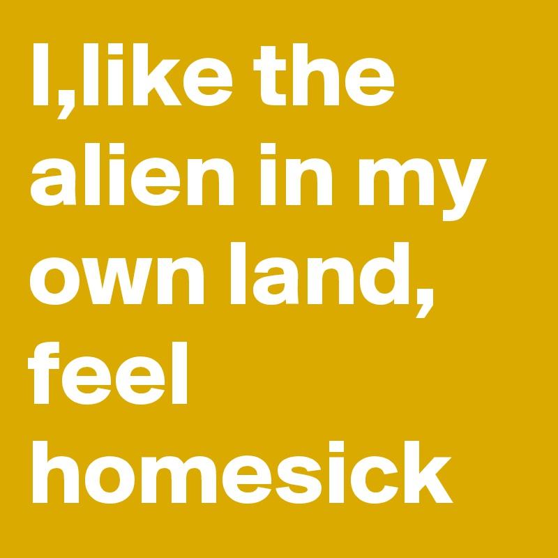 I,like the alien in my own land, feel homesick