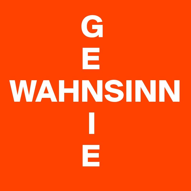 G            E WAHNSINN             I            E