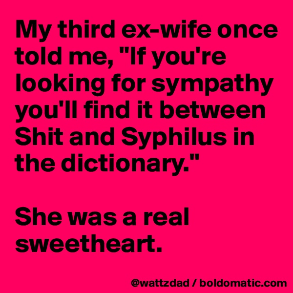 """My third ex-wife once told me, """"If you're looking for sympathy you'll find it between Shit and Syphilus in the dictionary.""""  She was a real sweetheart."""
