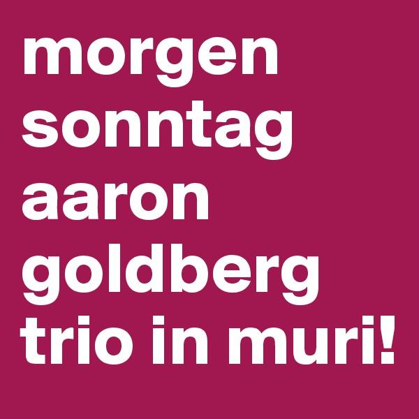 morgen sonntag aaron goldberg trio in muri!