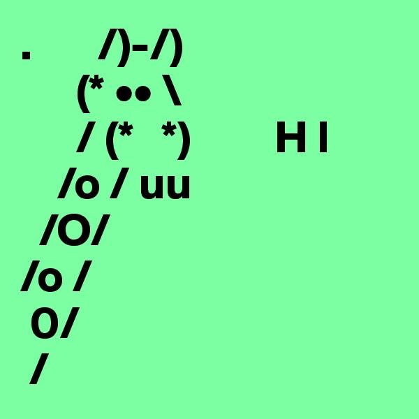 .      /)-/)       (* •• \       / (*   *)         H I      /o / uu            /O/ /o /  0/  /