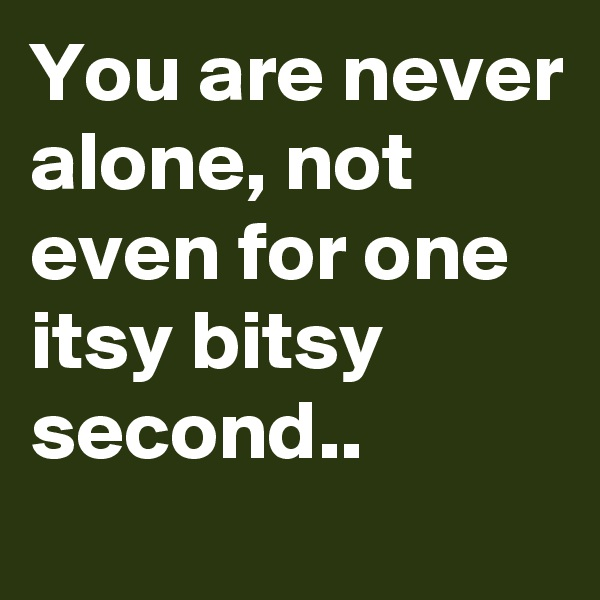 You are never alone, not even for one itsy bitsy second..