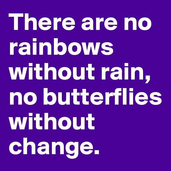 There are no rainbows without rain, no butterflies without change.
