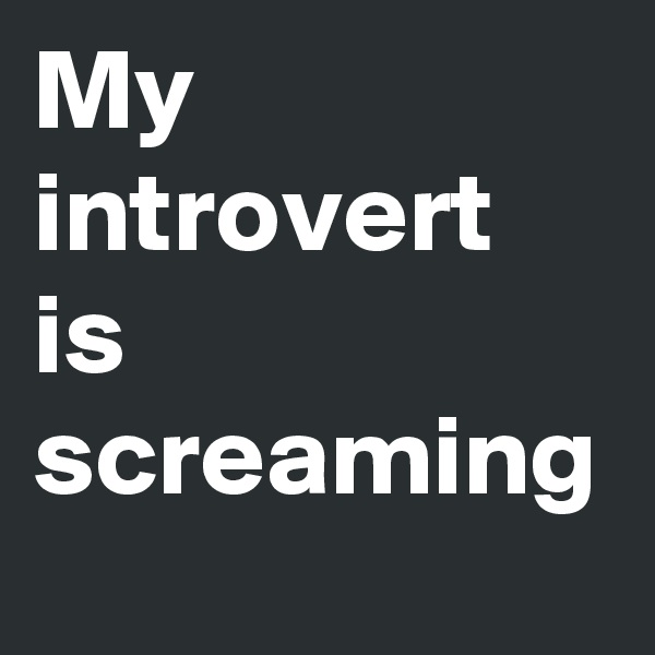 My introvert is screaming