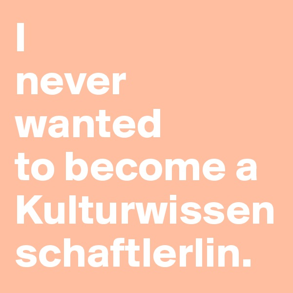 I  never wanted  to become a Kulturwissenschaftlerlin.
