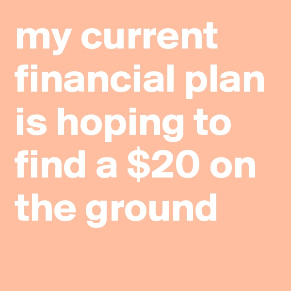 my current financial plan is hoping to find a $20 on the ground