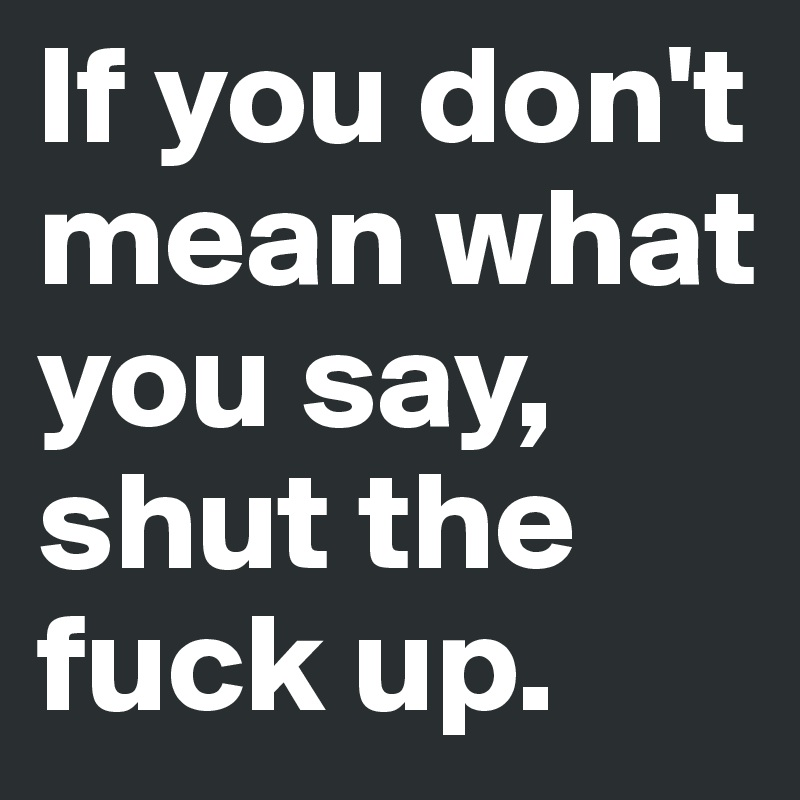 If you don't mean what you say, shut the fuck up.
