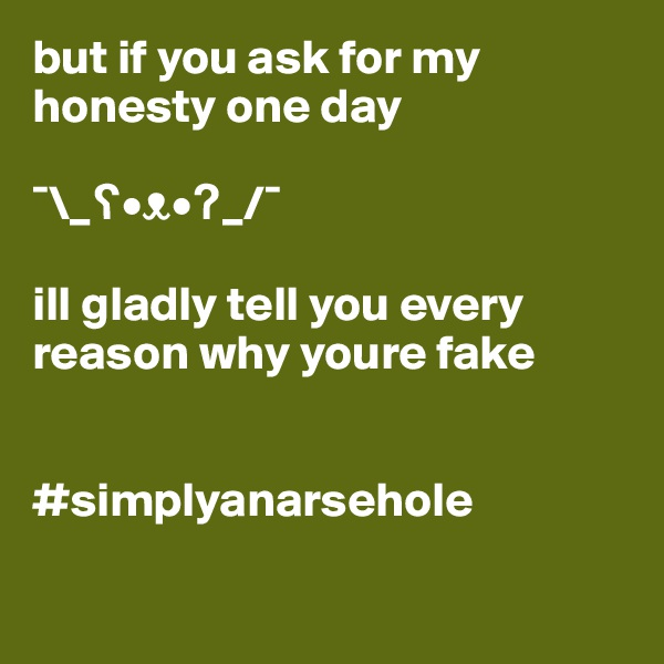 but if you ask for my honesty one day  ¯\_?•?•?_/¯  ill gladly tell you every reason why youre fake   #simplyanarsehole