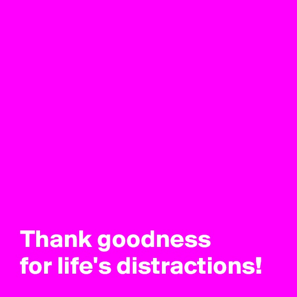 Thank goodness   for life's distractions!