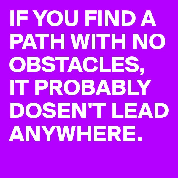 IF YOU FIND A PATH WITH NO OBSTACLES, IT PROBABLY DOSEN'T LEAD ANYWHERE.