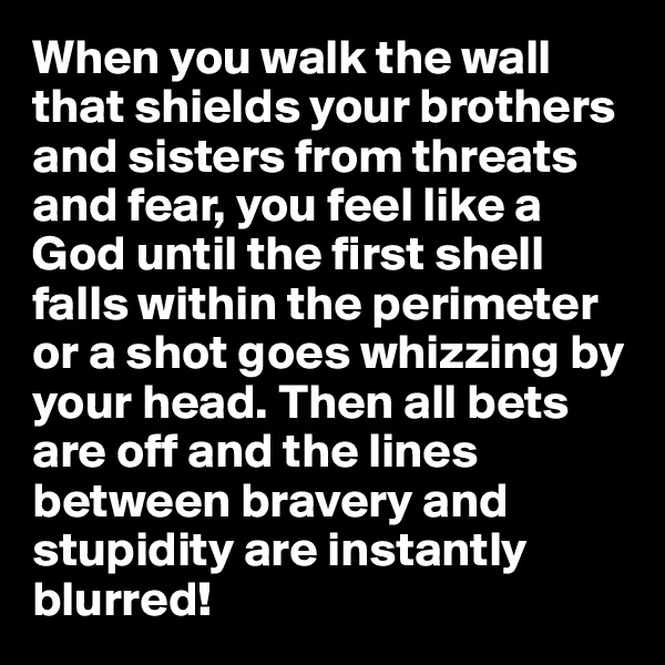 When you walk the wall that shields your brothers and sisters from threats and fear, you feel like a God until the first shell falls within the perimeter or a shot goes whizzing by your head. Then all bets are off and the lines between bravery and stupidity are instantly blurred!