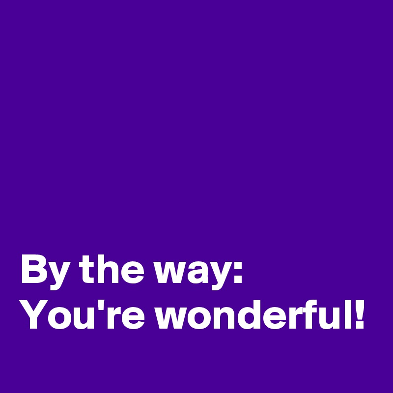 You Re Wonderful: By The Way: You're Wonderful!