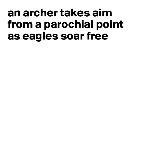 an archer takes aim from a parochial point as eagles soar free