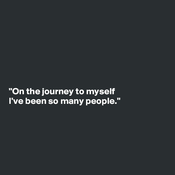 """""""On the journey to myself I've been so many people."""""""