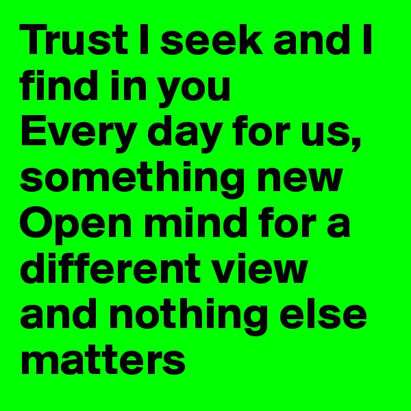 Trust I seek and I find in you  Every day for us, something new  Open mind for a different view  and nothing else matters