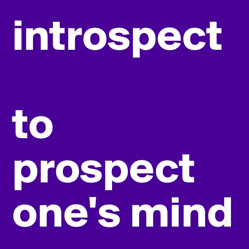 introspect  to prospect one's mind