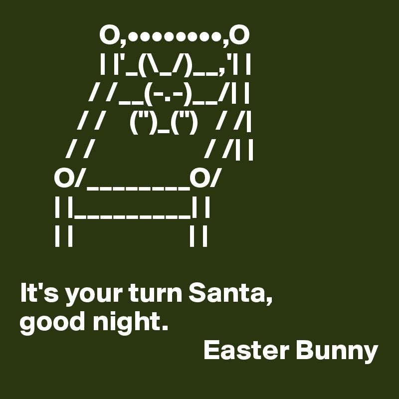 "O,••••••••,O               | |'_(\_/)__,'| |             / /__(-.-)__/| |           / /    ("")_("")   / /|         / /                   / /| |       O/________O/       | |_________| |       | |                    | |   It's your turn Santa,  good night.                                 Easter Bunny"