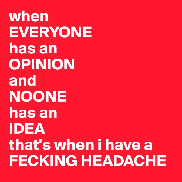 when EVERYONE  has an  OPINION  and NOONE has an IDEA that's when i have a  FECKING HEADACHE