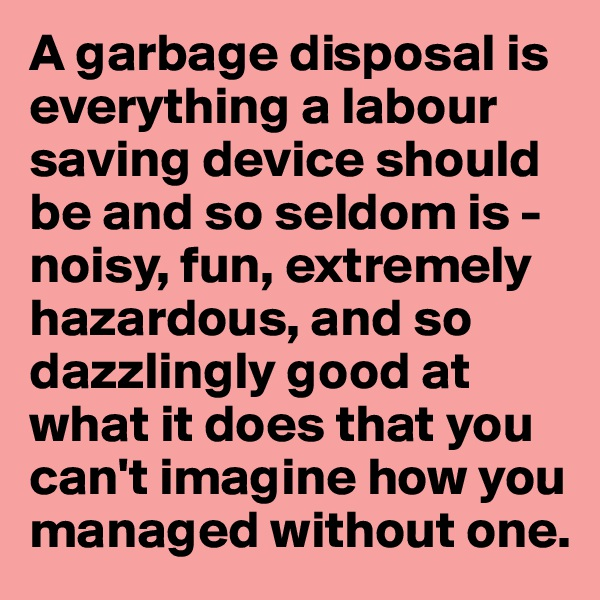 A garbage disposal is everything a labour saving device should be and so seldom is - noisy, fun, extremely hazardous, and so dazzlingly good at what it does that you can't imagine how you managed without one.