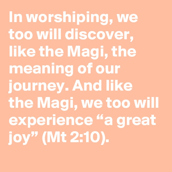 "In worshiping, we too will discover, like the Magi, the meaning of our journey. And like the Magi, we too will experience ""a great joy"" (Mt 2:10)."