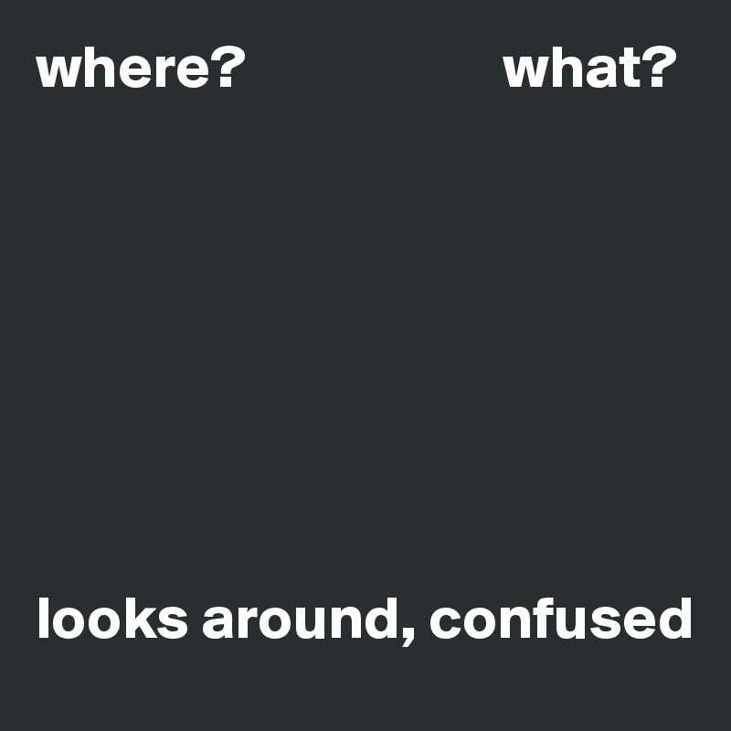 where?                     what?           looks around, confused