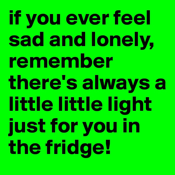 if you ever feel sad and lonely, remember there's always a little little light just for you in the fridge!