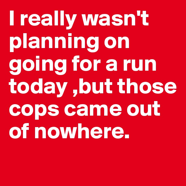 I really wasn't planning on going for a run today ,but those cops came out of nowhere.