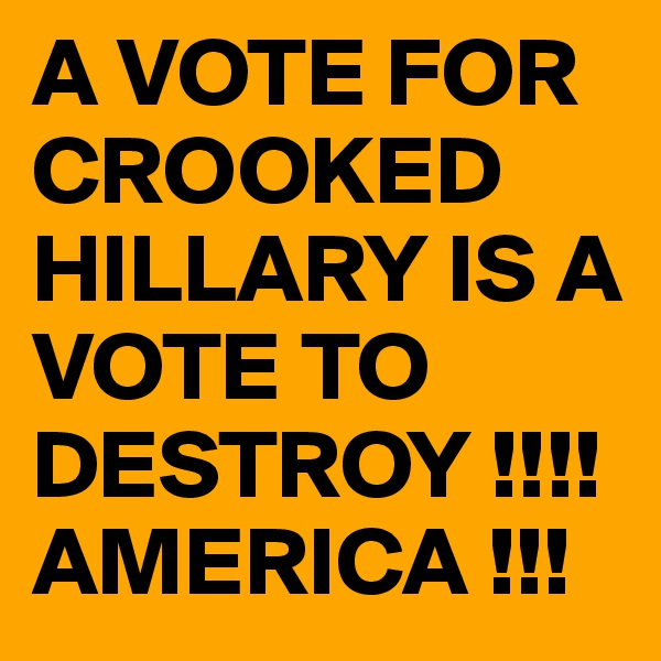 A VOTE FOR CROOKED HILLARY IS A VOTE TO DESTROY !!!! AMERICA !!!