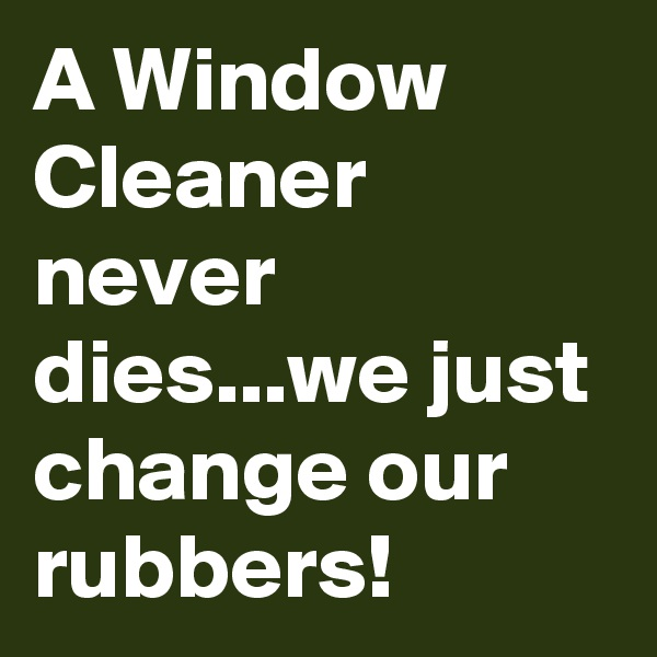 A Window Cleaner never dies...we just change our rubbers!